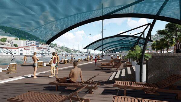 Городской пляж в восточной части бухты сделают с деревянными настилами и навесами от солнца.