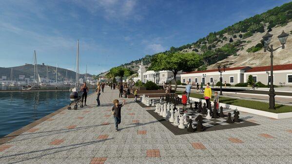 Из развлечений для детей на набережной оставлены огромные шахматы, для прогуливающихся туристов предусмотрены лавочки.