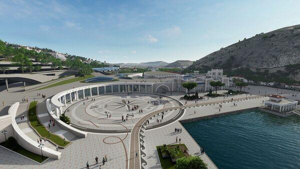 В окончании Балаклавской бухты запланированы самые большие изменения – тут, судя по проекту, построят огромную многоуровневую площадь со стеклянной галереей и лестницами.