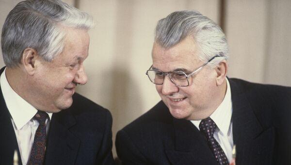 Президент России Борис Николаевич Ельцин и Президент Украины Леонид Макарович Кравчук. Архивное фото