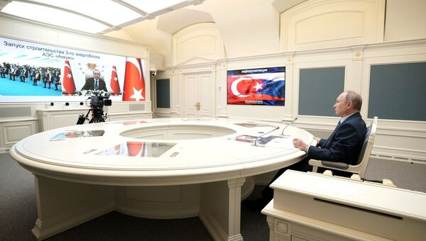 Путин и Эрдоган открыли строительство третьего энергоблока АЭС Аккую