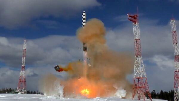 Запуск ракеты «Сармат» с космодрома «Плесецк»