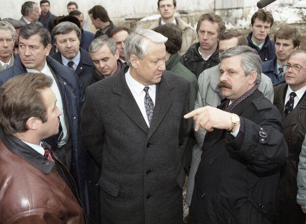 Президент Российской Федерации Борис Ельцин и вице-президент РФ Александр Руцкой