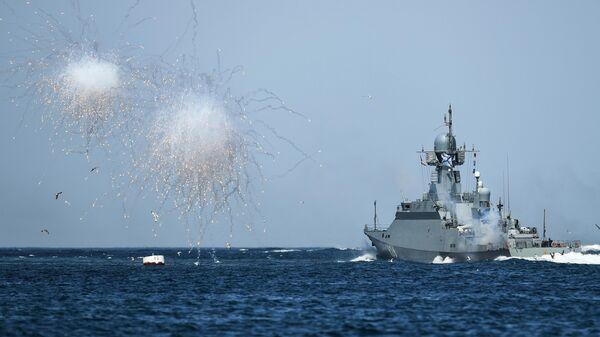 Фрегат Адмирал Эссен на параде в честь Дня Военно-морского флота в Севастополе