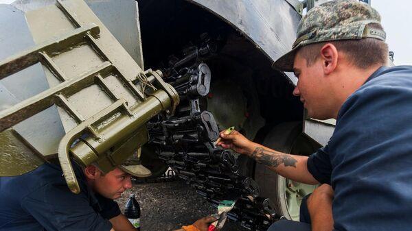 Подготовка танка Т-72Б3М к форуму Армия-2021 в Симферополе