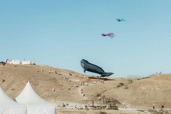 Подъем воздушного змея в форме кита на АРТ-кластере Таврида