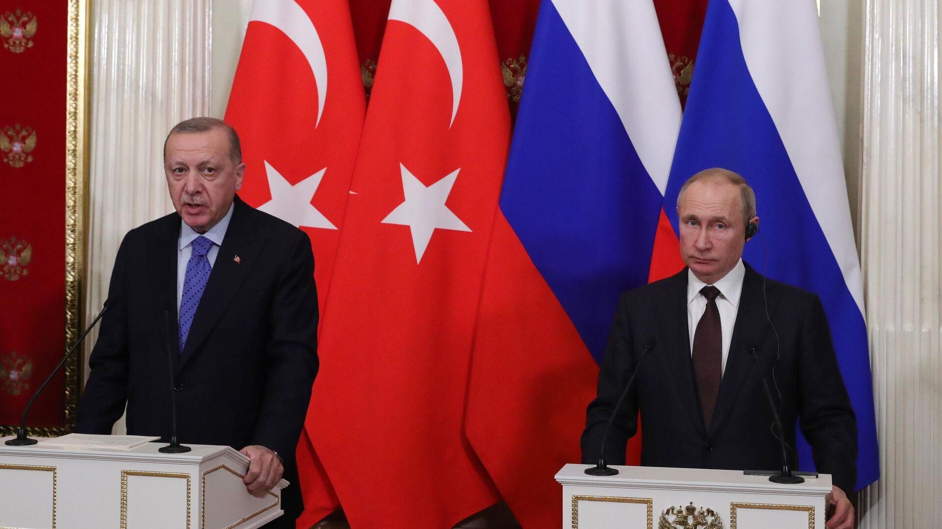 Президент РФ В. Путин встретился с президентом Турции Р. Эрдоганом. 5 марта 2020 - РИА Новости, 1920, 21.09.2021