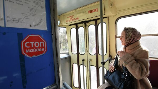 Пассажирка троллейбуса в городе Симферополе. Архивное фото