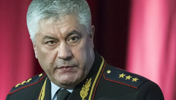 Министр внутренних дел РФ Виктор Колокольцев выступает на расширенном заседании коллегии МВД России