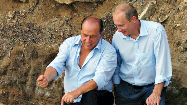В.Путин и С.Берлускони на вилле Ла Чертоза в Италии