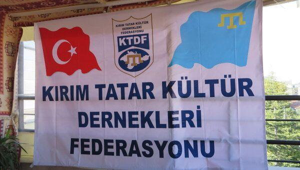 Плакат на конференции крымских татар в Турции