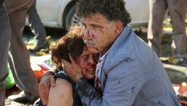 Пострадавшие при взрыве в Анкаре 10 октября 2015 года