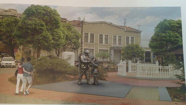 Макет памятнику Вежливым людям около Госсовета РК