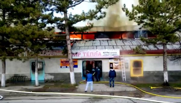 Пожар в Бахчисарае на торговых рядах