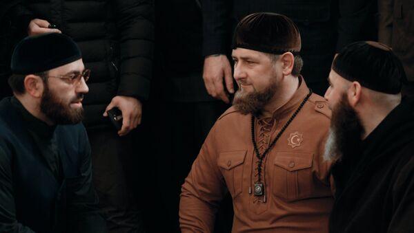 Богослов Адам Шахидов, глава Чеченской республики Рамзан Кадыров и муфтий Чеченской республики Салах Межидов