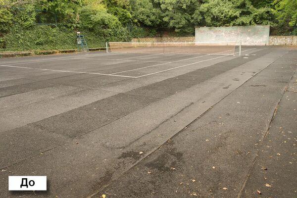 Теннисный корт до реконструкции.