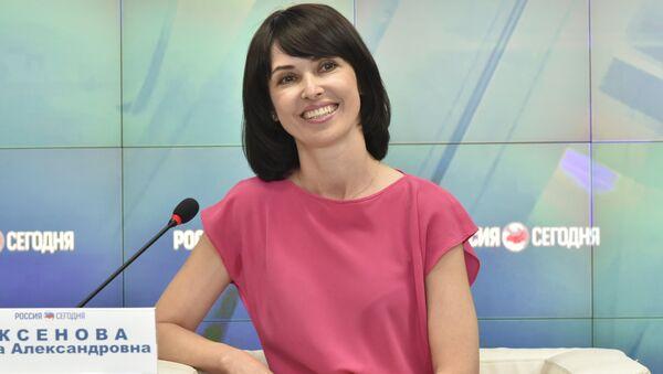 Руководитель Межрегиональной общественной организации Русское единство Елена Аксенова в пресс-центре МИА Россия сегодня в Симферополе