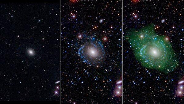 Галактика UGC 1382 в оптическом (слева), ультрафиолетовом (центр) и радио- (справа) диапазонах