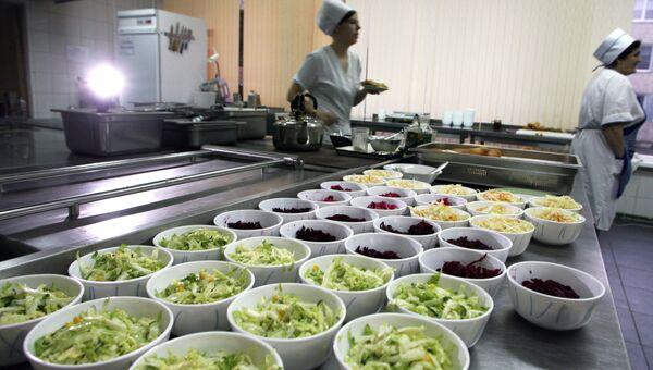 Работа столовой-пекарни в средней школе № 1 города Светлогорска Калининградской области