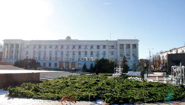 Установка главной новогодней елки в Симферополе