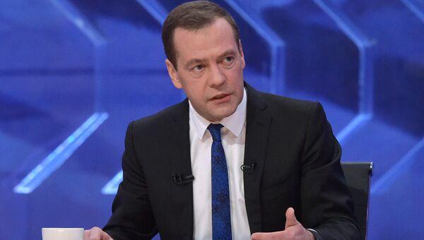 Интервью премьер-министра Д. Медведева российским телеканалам