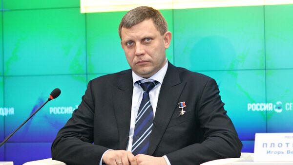 Глава ДНР Александр Захарченко на пресс-конференции в мультимедийном пресс-центре МИА Россия сегодня в Симферополе