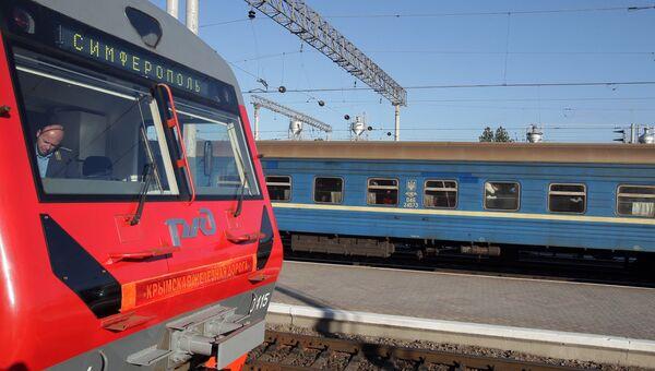 Крымской железной дороге передан новый электропоезд железнодорожниками России