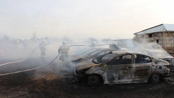 Ликвидация загорания автомобилей в пгт. ГРЭС