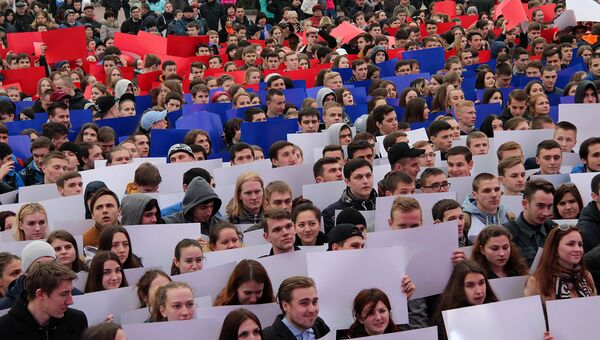 Массовый флэшмоб Горжусь Россией! в Севастополе