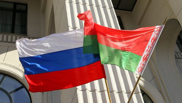 Флаг России и Белоруссии. Архивное фото