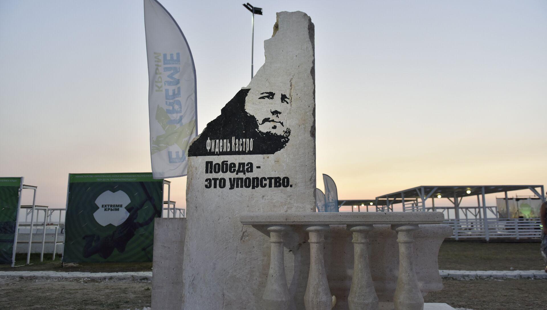 Памятник Фиделю Кастро, установленный на территории фестиваля экстремальных видов спорта Extreme Крым - РИА Новости, 1920, 05.08.2017