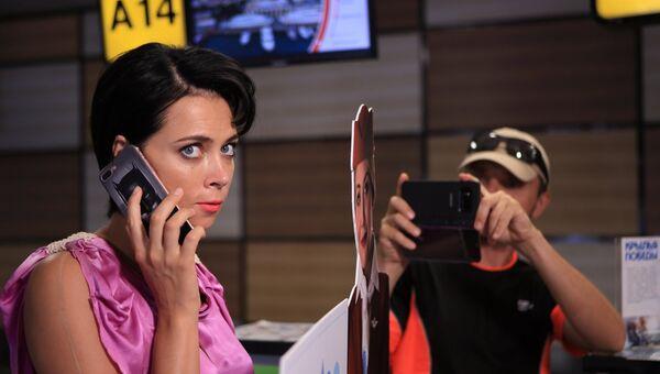 Съемка сцен к фильму Каникулы президента в аэропорту Симферополь