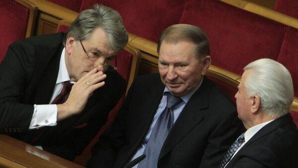 Экс-президенты Украины Виктор Ющенко, Леонид Кучма и Леонид Кравчук (слева направо) на заседании Верховной Рады Украины.