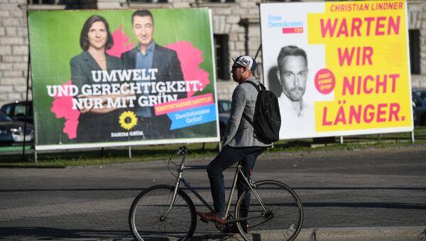 Предвыборная агитация на одной из улиц Берлина накануне парламентских выборов в Германии. 23 сентября 2017