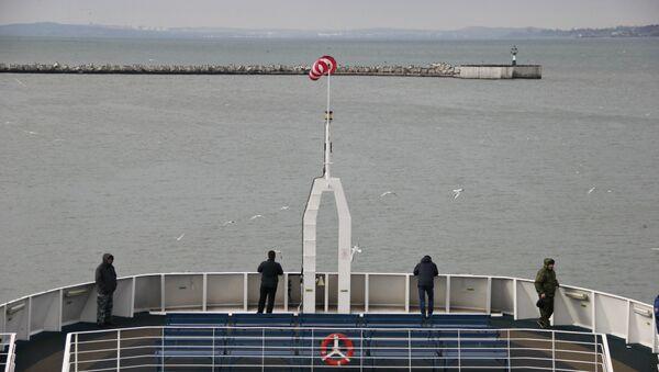 Парома Протопорос IV в порту Кавказ Керченской паромной переправы