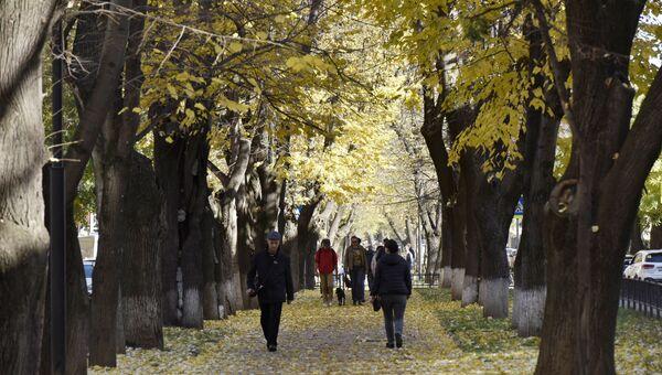 Люди в парке им. Гагарина в Симферополе. Осень