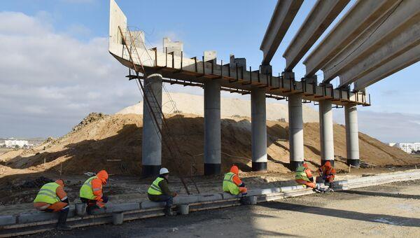 Работы по строительству путепровода в составе шоссе Героев Сталинграда