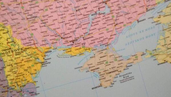 Карта, на Украина показана без Крыма, части Одесской и Херсонской областей