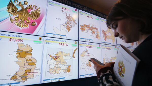 Экраны со статистикой явки избирателей на выборах президента РФ по регионам в информационном центре Центральной избирательной комиссии РФ.