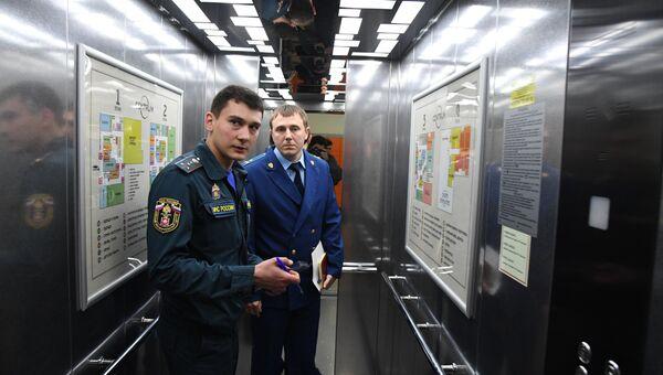 Проверка состояния противопожарной безопасности в ТЦ Центрум в Симферополе