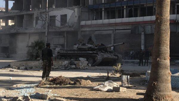 Бронетехника сирийской армии в Восточной Гуте