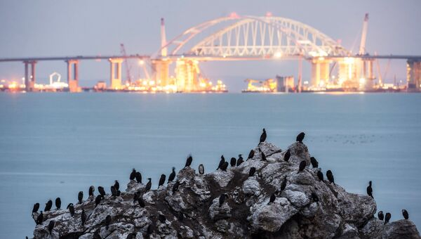 Строительство Крымского моста через Керченский пролив.