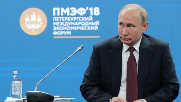 Президент РФ Владимир Путин во время бизнес-диалога Россия - Франция в рамках Петербургского международного экономического форума-2018
