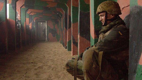 Украинский морской пехотинец во время учений