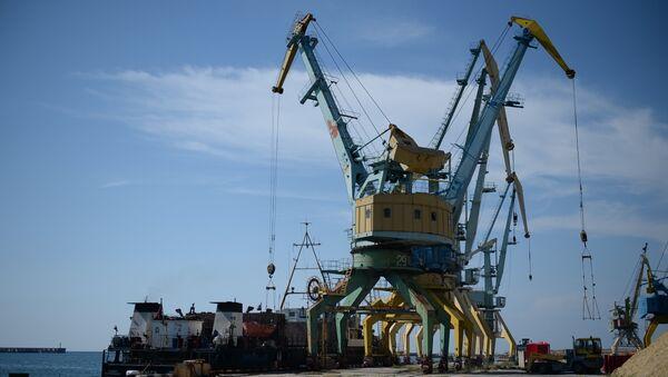 Погрузка зерна на корабль в порту Севастополя для отправки в Сирию