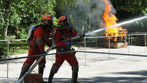Сотрудники МЧС во время тушения пожара. Архивное фото