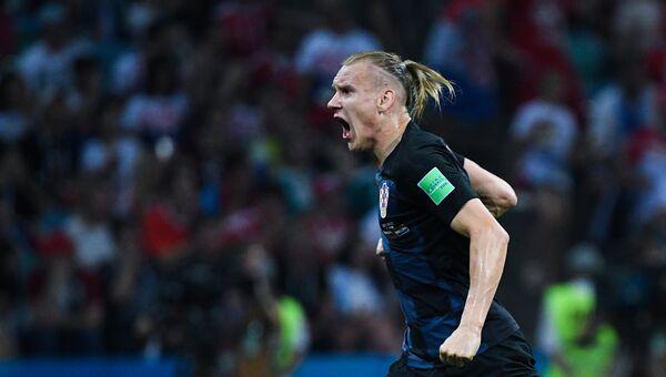 Домагой Вида (Хорватия) радуется забитому голу в матче 1/4 финала чемпионата мира по футболу между сборными России и Хорватии. 7 июля 2018
