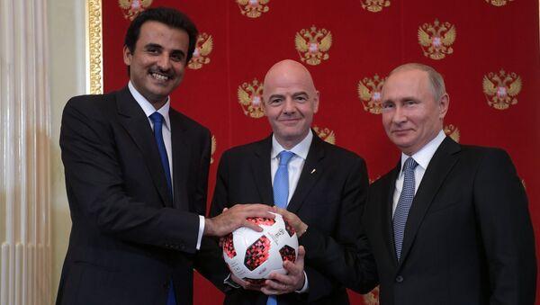 Президент РФ В. Путин принял участие в церемонии передачи Катару полномочий на проведение ЧМ-2022 по футболу