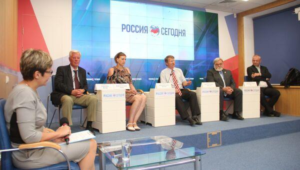Пресс-конференция членов делегации из Республики Чехия в мультимедийном пресс-центре МИА Россия сегодня в Симферополе