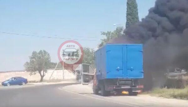 Видео с места загорания ГАЗели в Севастополе